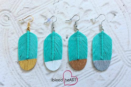 Seafoam Feather Earrings