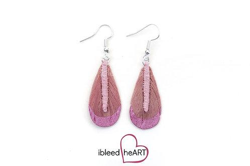 Pink Metallic Dipped Pink Teardrop Shape - #t11