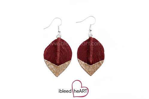 Rose Gold Dipped Red Brown Short Teardrop Shape - #25