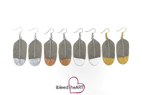 Light Gray Feather Earrings