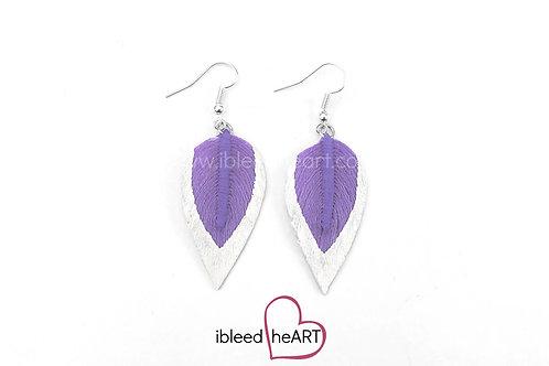 Metallic White Dipped Purple Teardrop Shape - #134
