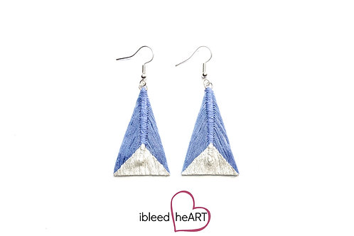 Metallic White Dipped Periwinkle Blue Triangle Shape - #tr37
