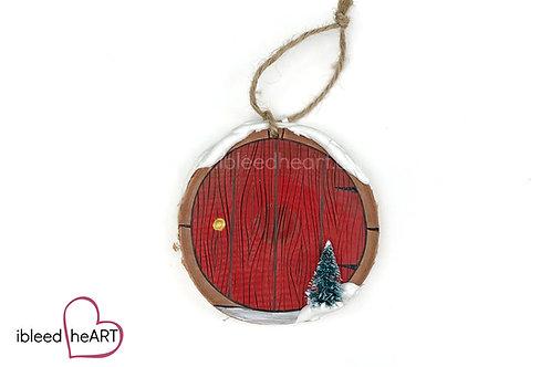 Red Door with Tree - Wood
