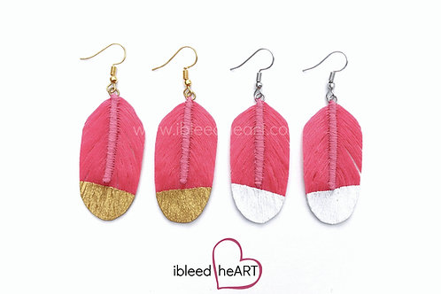 Bright Pink Feather Earrings