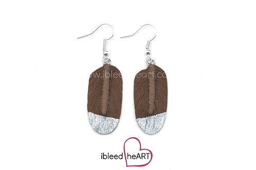 Silver Dipped Brown Oval Shape - #297
