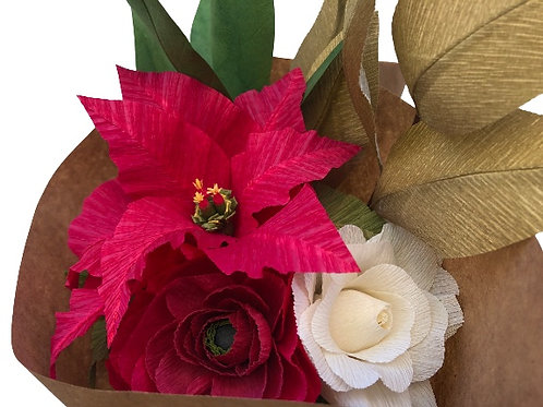 Poinsettia, Ranunculus, and Roses