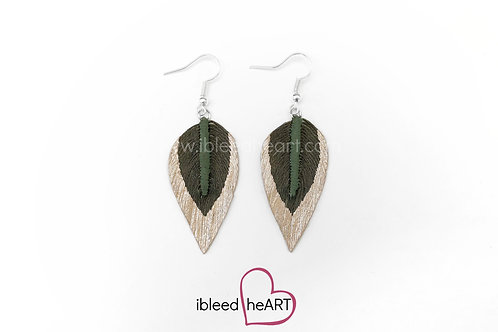 Rose Gold Dipped Dark Green Long Teardrop Shape - #243