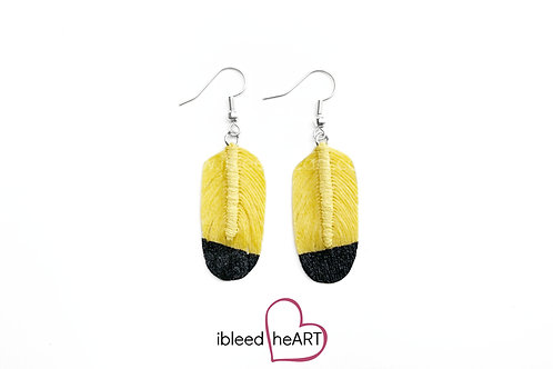 Black Dipped Yellow Oval Shape - #7