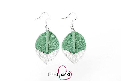 Metallic White Dipped Pale Green Short Teardrop Shape - #198