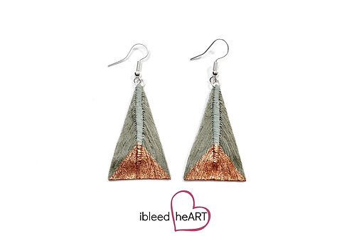 Copper Dipped Gray Green Triangle Shape - #tr27