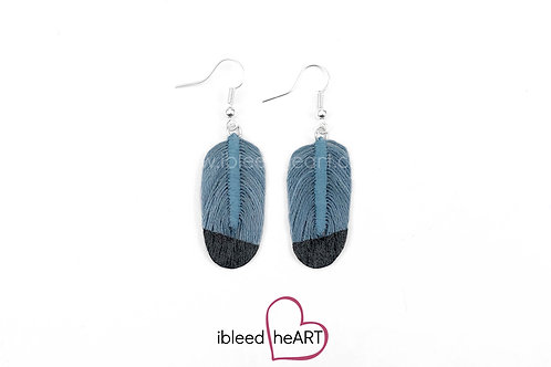 Black Dipped Gray Blue Oval Shape - #170