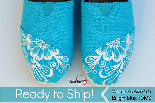White Henna on Bright Blue Shoes - Women's 5.5