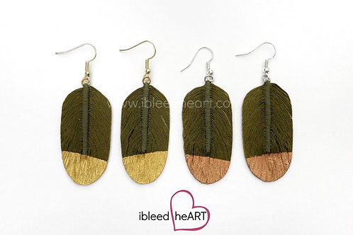 Army Green Feather Earrings