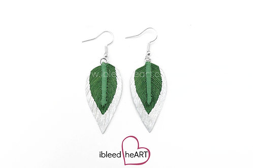 Metallic White Dipped Green Long Teardrop Shape - #238