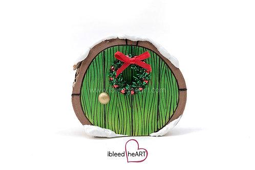 Green Door with Wreath - Shelf Sitter