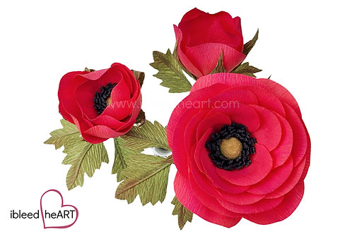 Open Ranunculus - Pink Red