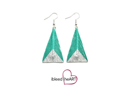 Silver Dipped Teal Triangle Shape - #tr41