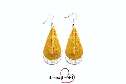 White Metallic Dipped Warm Yellow Teardrop Shape - #t38