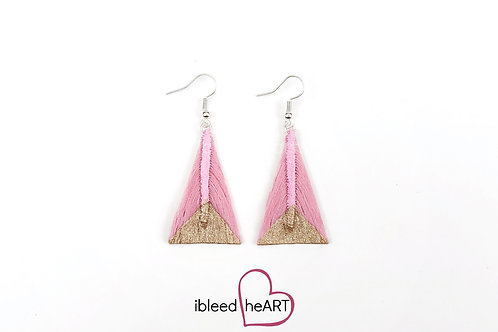 Sparkly Rose Gold Dipped Pink Triangle Shape - #tr22