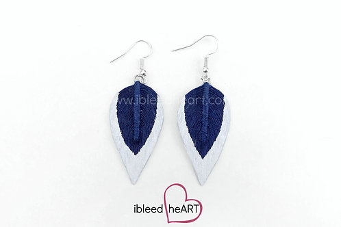 Metallic White Dipped Navy Blue Teardrop Shape - #145