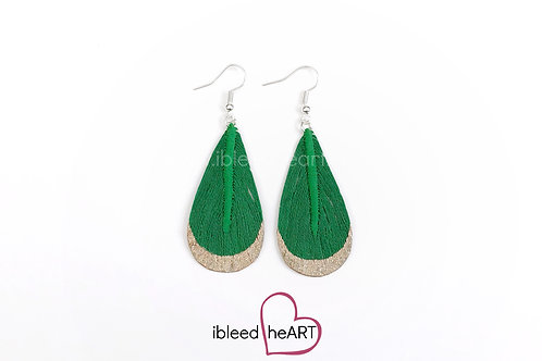 Sparkly Rose Gold Dipped Green Teardrop Shape - #t30