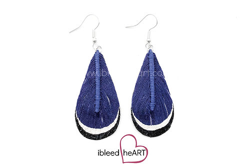 Black and White Dipped Dark Blue Teardrop Shape - #t6