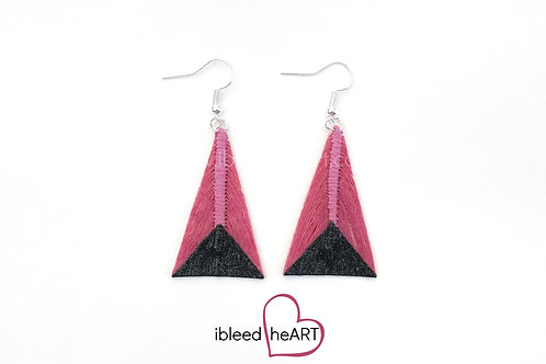 Black Glitter Dipped Pink Triangle Shape - #tr11