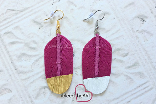 Fuchsia Feather Earrings