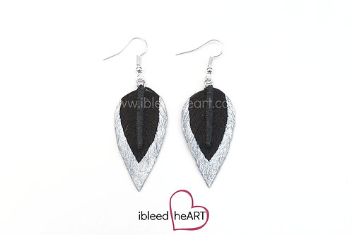 Silver Dipped Dark Brown Long Teardrop Shape - #312