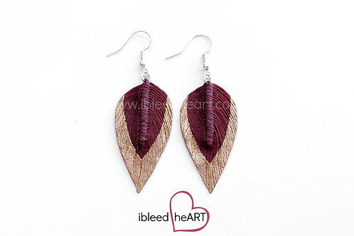 Copper Dipped Maroon Teardrop Shape - #110