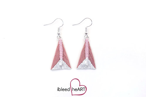 Metallic White Dipped Pink Triangle Shape - #tr10
