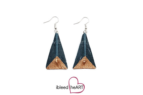 Copper Dipped Dark Teal Triangle Shape - #tr25