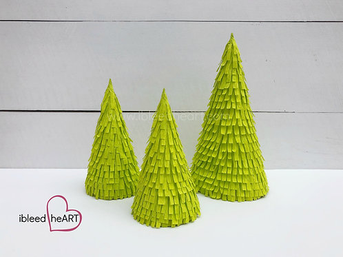 Set of 3 Bright Green Trees