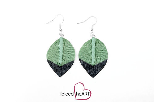 Black Dipped Light Green Short Teardrop Shape - #230