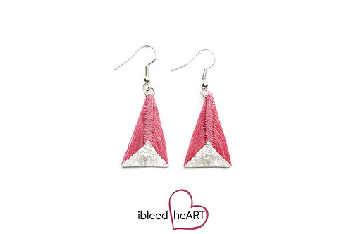 Metallic White Dipped Pink Triangle Shape - #tr36