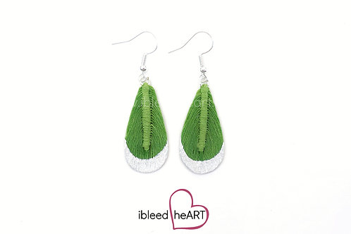 White Metallic Dipped Lime Green Teardrop Shape - #t14