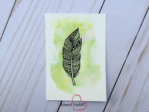 Green Feather Painting