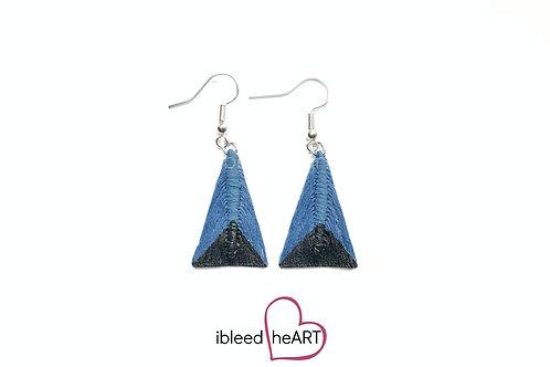 Black Dipped Blue Triangle Shape - #tr40