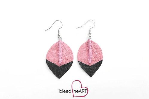 Black Dipped Light Pink Short Teardrop Shape - #78