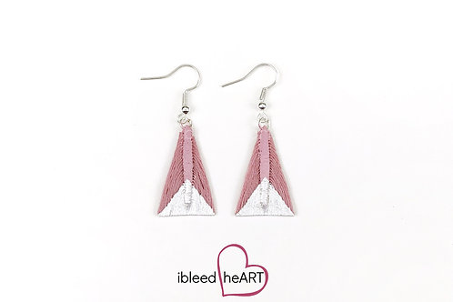 Metallic White Dipped Mauve Triangle Shape - #tr24