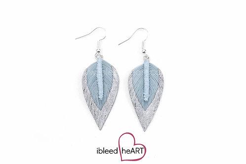 Silver Dipped Blue Long Teardrop Shape - #177
