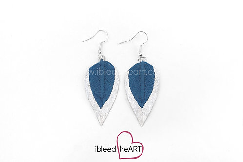 Metallic White Dipped Blue Teardrop Shape - #159