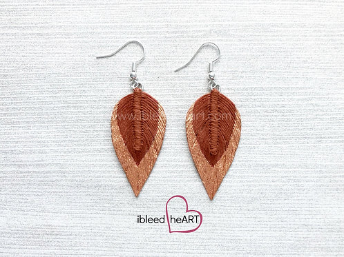Copper Dipped Rust Brown Long Teardrop Shape - #90