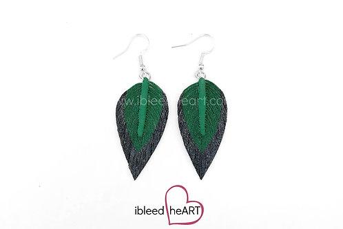 Black Dipped Green Long Teardrop Shape - #211