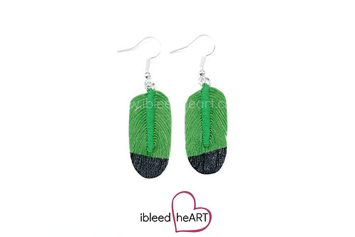 Black Dipped Green Oval Shape - #239