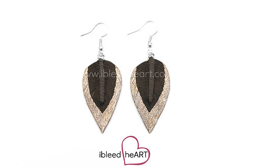 Rose Gold Dipped Brown Long Teardrop Shape - #307