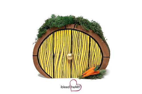 Yellow Door with Three Carrots