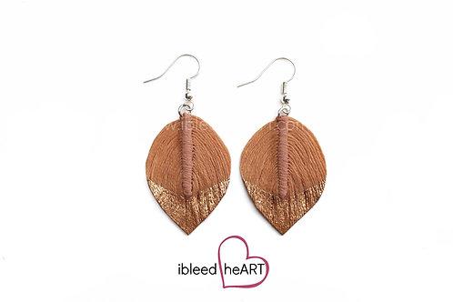 Copper Dipped Light Orange Brown Short Teardrop Shape - #33