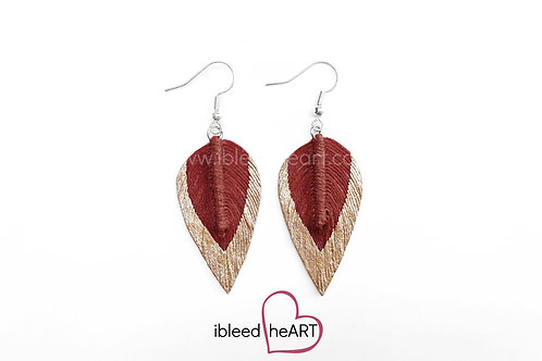 Rose Gold Dipped Red Brown Long Teardrop Shape - #21