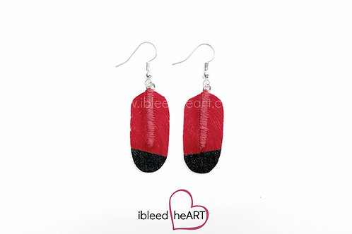 Black Dipped Pale Red Oval Shape - #71